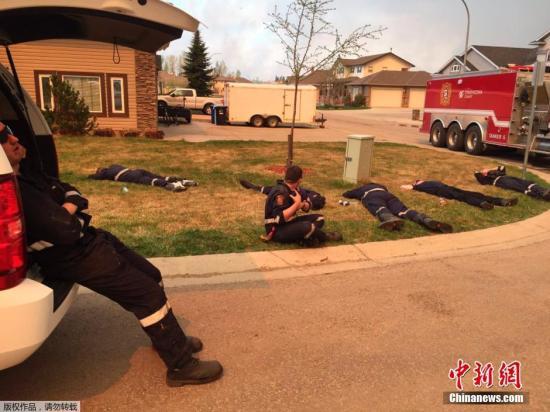 参加以灭火的消备员们劳动累不胜于,使用间隙卧在草坪上入梦。