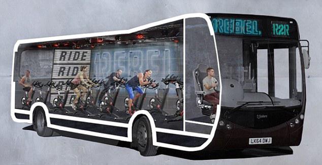 伦敦巴士转型成动感单车室 上班健身两不误(组图)