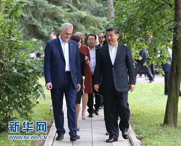 當地時間6月17日,國家主席習近平同塞爾維亞總統尼科利奇在貝爾格萊德舉行會晤。 新華社記者 丁林 攝