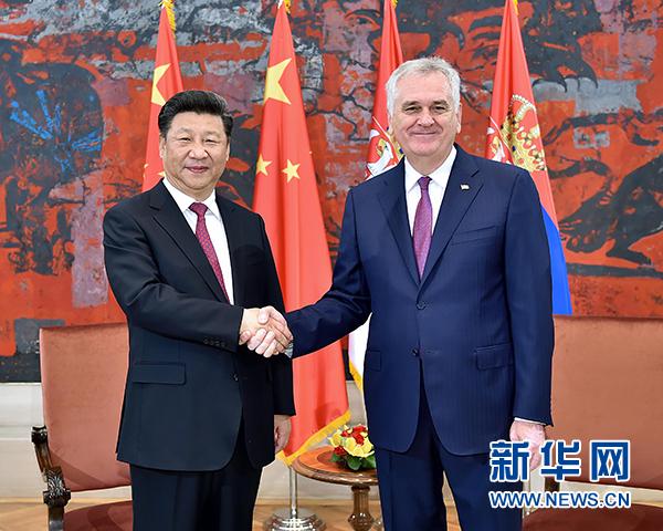 6月18日,國家主席習近平在貝爾格萊德同塞爾維亞總統尼科利奇舉行會談。 新華社記者 李濤 攝