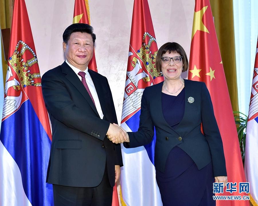 6月18日,國家主席習近平在貝爾格萊德會見塞爾維亞國民議會議長戈伊科維奇。 新華社記者李濤攝