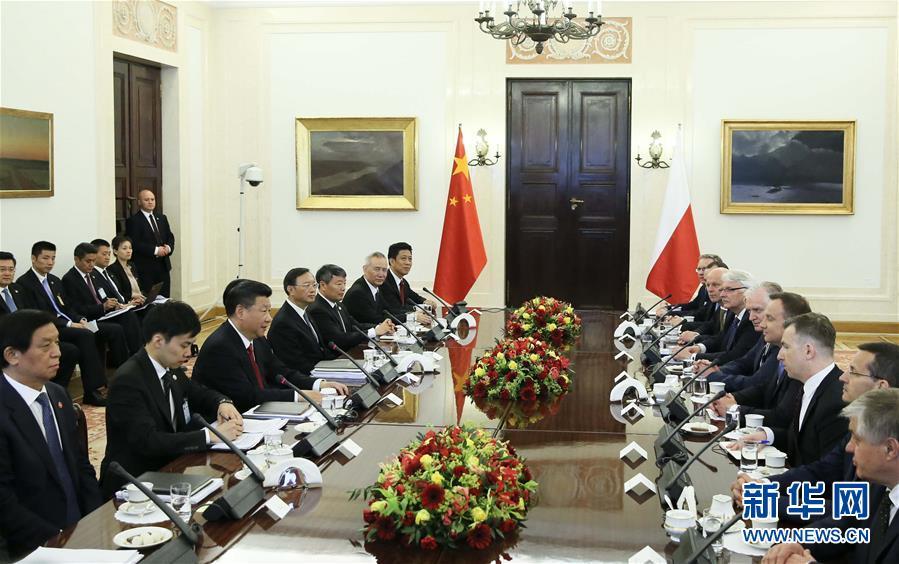 6月20日,國家主席習近平在華沙同波蘭總統杜達舉行會談。新華社記者蘭紅光攝