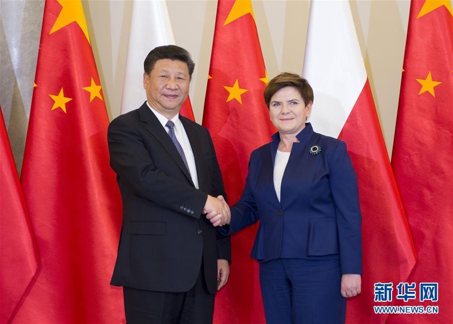 6月20日,國家主席習近平在華沙會見波蘭總理希德沃。新華社記者 謝環馳 攝