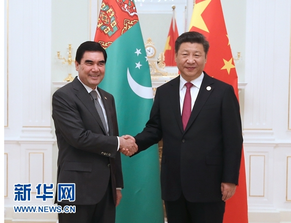 6月23日,國家主席習近平在塔什幹會見土庫曼斯坦總統別爾德穆哈梅多夫。 新華社記者馬佔成攝