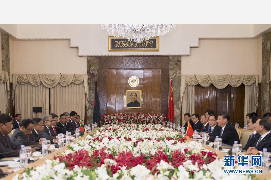 10月14日,國家主席習近平在達卡會見孟加拉國總統哈米德。新華社記者謝環馳攝