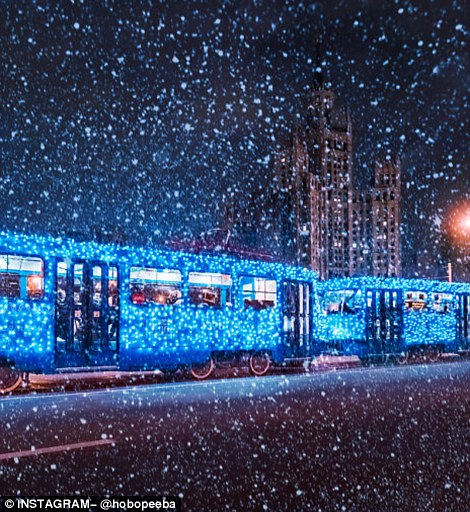 俄摄影师拍寒夜莫斯科似冰雪童话世界(组图)