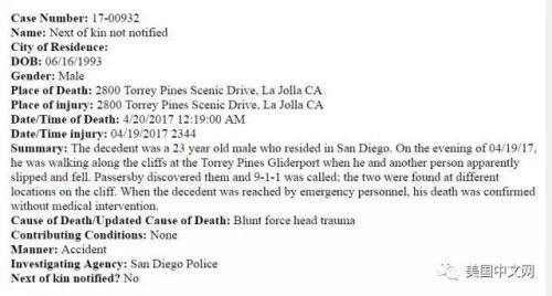 死者屍檢報告顯示死亡原因為頭部受重創。(美國中文網/聖地亞哥縣法醫辦公室提供)
