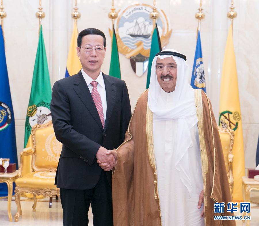 8月22日,應邀訪問科威特的中共中央政治局常委、國務院副總理張高麗在科威特城會見科威特埃米爾薩巴赫。 新華社記者 王曄 攝