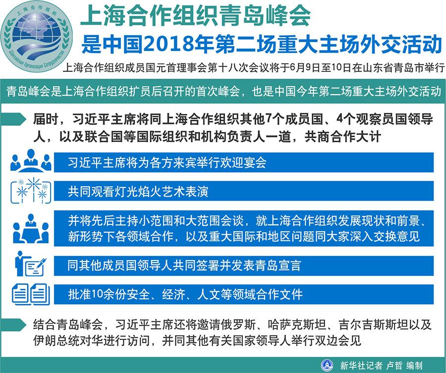 王毅表示,青岛峰会是上海合作组织扩员后召开的首次峰会,也是中国今年第二场重大主场外交活动。届时,习近平主席将同上海合作组织其他7个成员国、4个观察员国领导人,以及联合国等国际组织和机构负责人一道,共商合作大计。习近平主席将为各方来宾举行欢迎宴会,共同观看灯光焰火艺术表演,并将先后主持小范围和大范围会谈,就上海合作组织发展现状和前景、新形势下各领域合作,以及重大国际和地区问题同大家深入交换意见,同其他成员国领导人共同签署并发表青岛宣言,批准10余份安全、经济、人文等领域合作文件。结合青岛峰会,习近平主席还将邀请俄罗斯、哈萨克斯坦、吉尔吉斯斯坦以及伊朗总统对华进行访问,并同其他有关国家领导人举行双边会见。