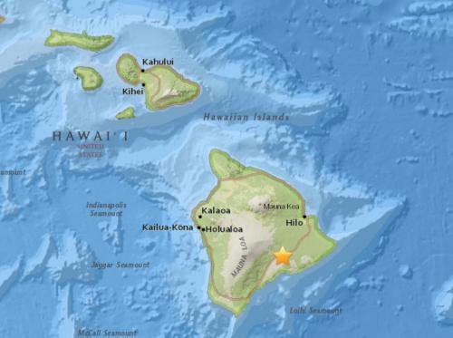 夏威夷大岛发生5.8级地震震源深度1.8公里