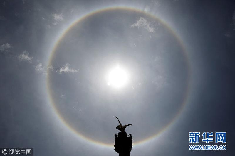 墨西哥出现美丽日晕奇观 巨大的彩色光环围绕太阳