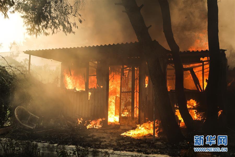 希腊雅典附近发生森林火灾 上千人撤离