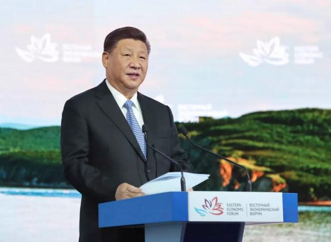 9月12日,第四届东方经济论坛全会在符拉迪沃斯托克举行。中国国家主席习近平出席并发表题为《共享远东发展新机遇 开创东北亚美好新未来》的致辞。新华社记者鞠鹏摄