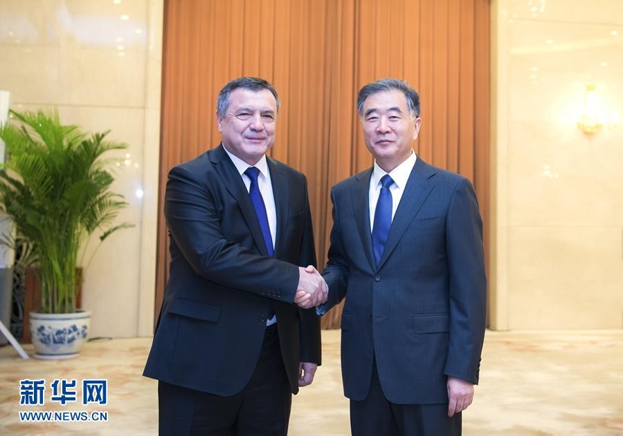 汪洋会见乌兹别克斯坦最高会议立法院主席伊斯梅洛夫