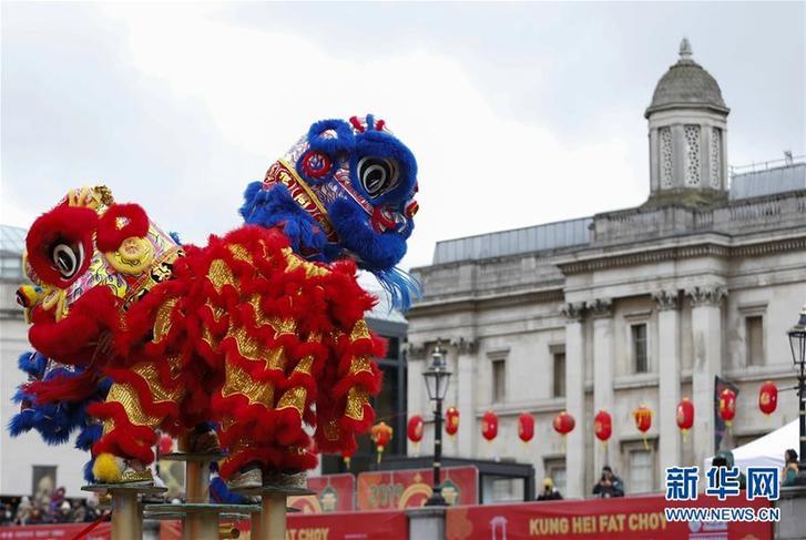 (國際)(2)倫敦特拉法加廣場舉行盛大春節慶典