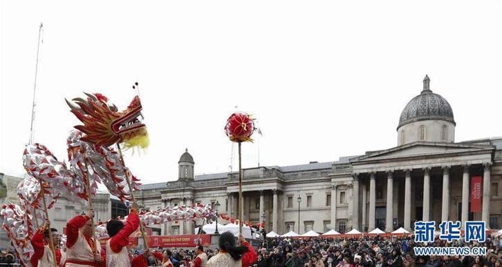 (國際)(1)倫敦特拉法加廣場舉行盛大春節慶典