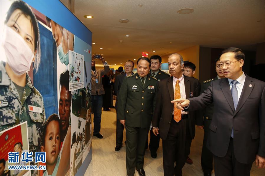 """(国际·图文互动)(2)""""维护世界和平的中国军队""""主题展览在联合国总部开幕"""