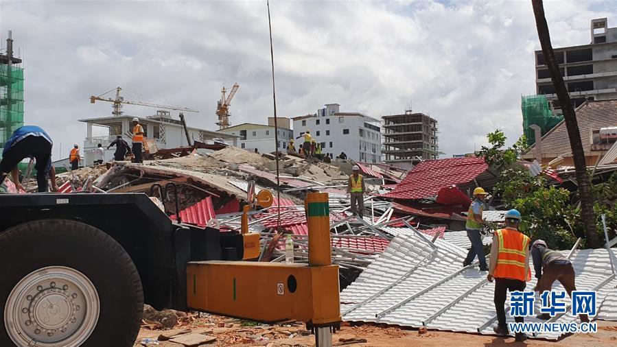 (國際)(2)柬埔寨一在建七層建筑倒塌致多人傷亡
