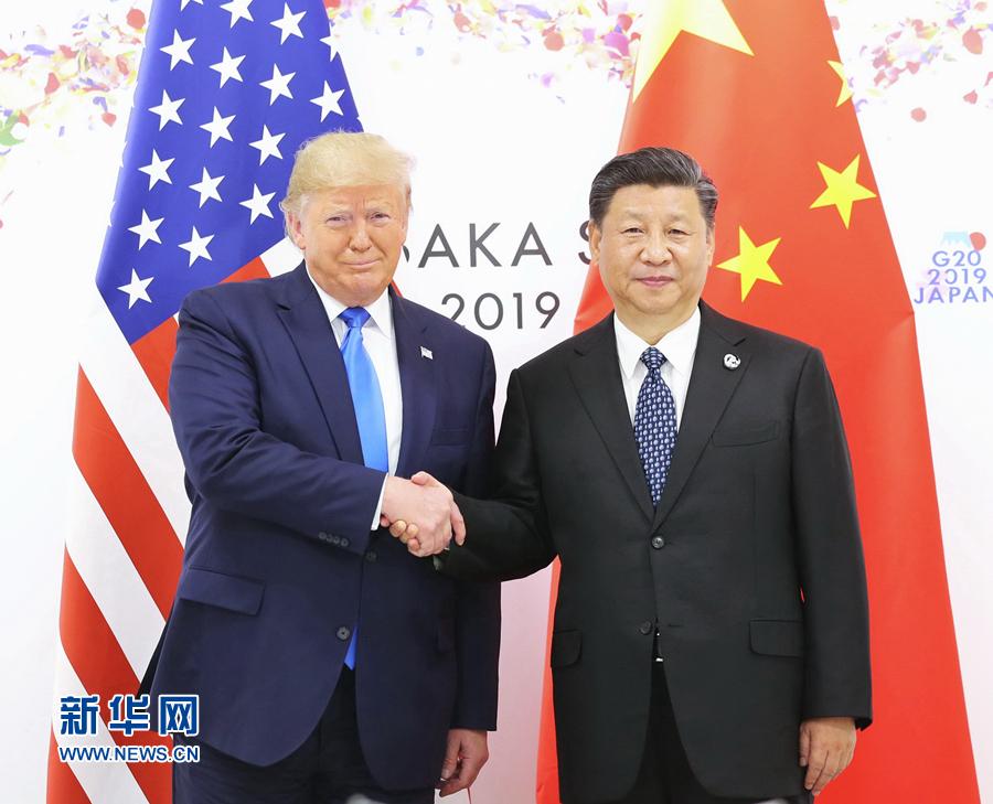 国家主席习近平同美佛冈佬foganglao国总统特朗普在日本大阪举行会晤