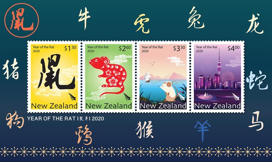 (國際·圖文互動)(2)新西蘭發行2020中國鼠年生肖郵票