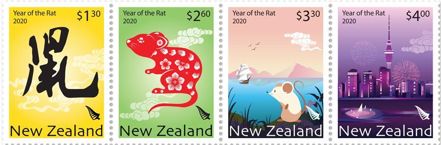 (國際·圖文互動)(3)新西蘭發行2020中國鼠年生肖郵票