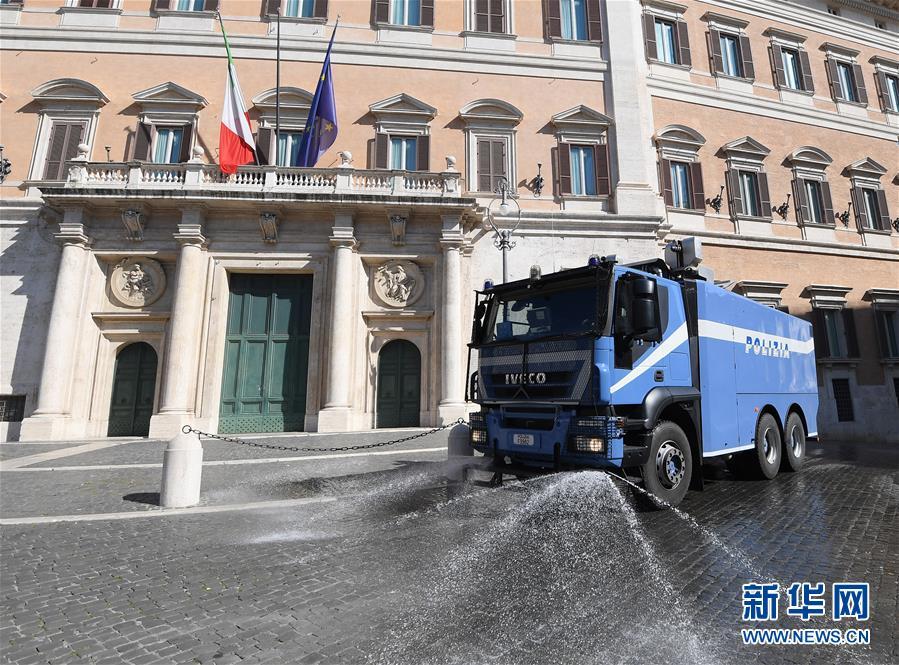 (國際疫情)(1)羅馬警察出動清洗街道