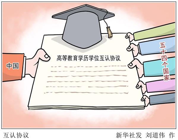 中国已与54个国家签署高等教育学历学位互认协议
