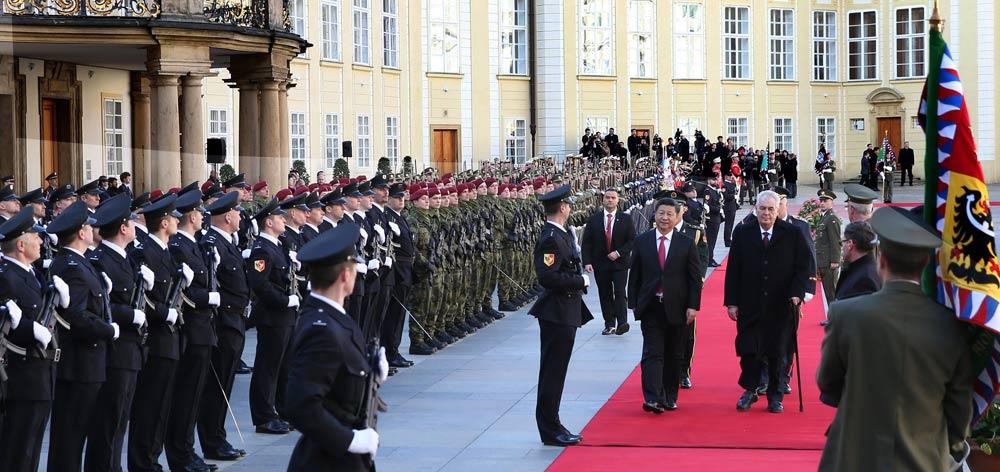 習近平出席捷克總統澤曼舉行的歡迎儀式