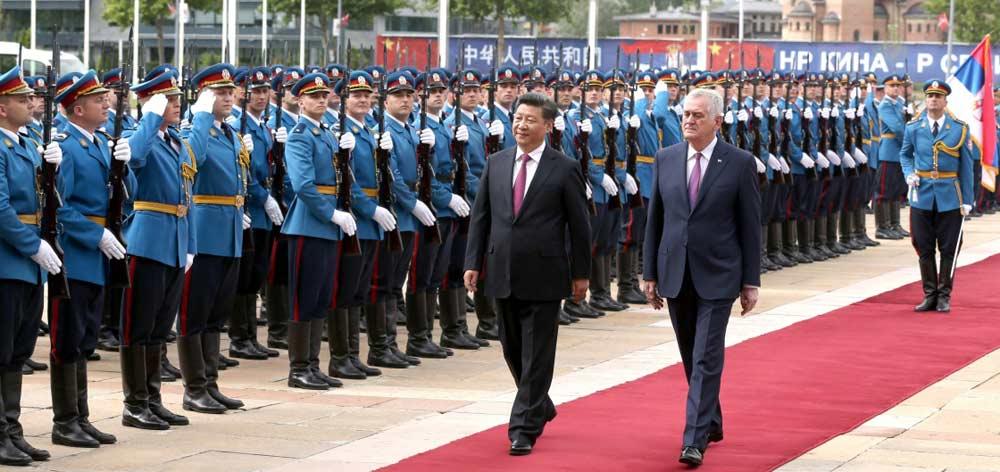習近平出席塞爾維亞總統尼科利奇舉行的歡迎儀式
