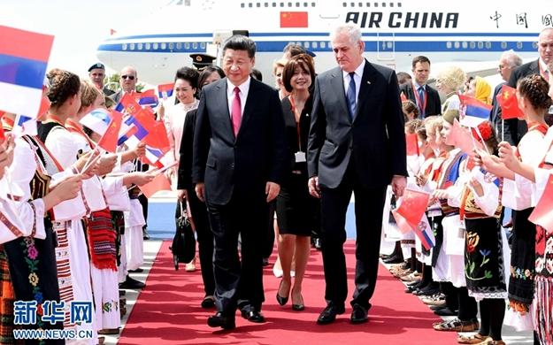 習近平抵達貝爾格萊德開始對塞爾維亞共和國進行國事訪問