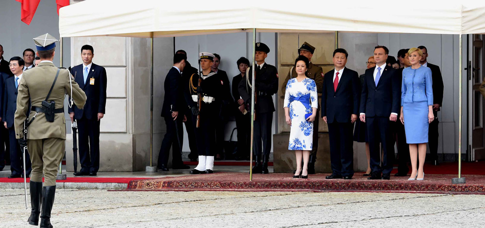 習近平出席波蘭總統杜達舉行的歡迎儀式