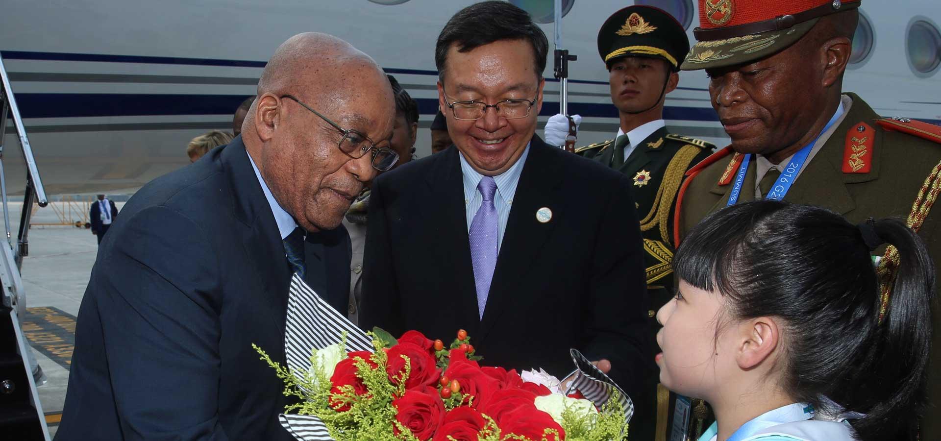 南非總統祖馬抵達杭州