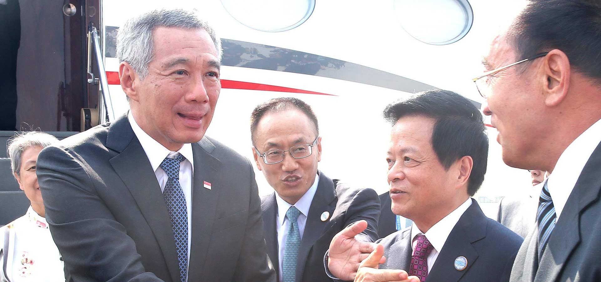 新加坡總理李顯龍抵達杭州