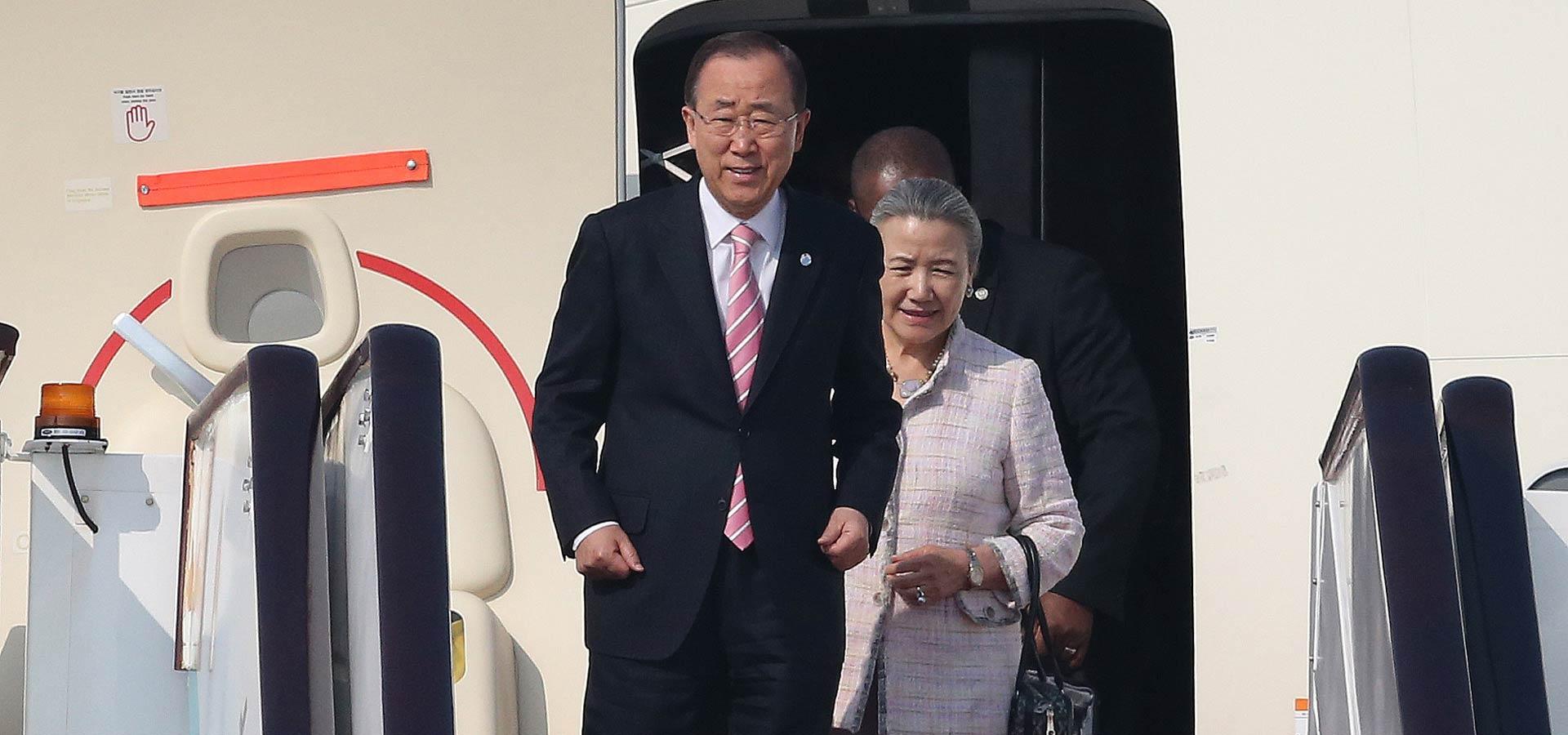 聯合國秘書長潘基文抵達杭州