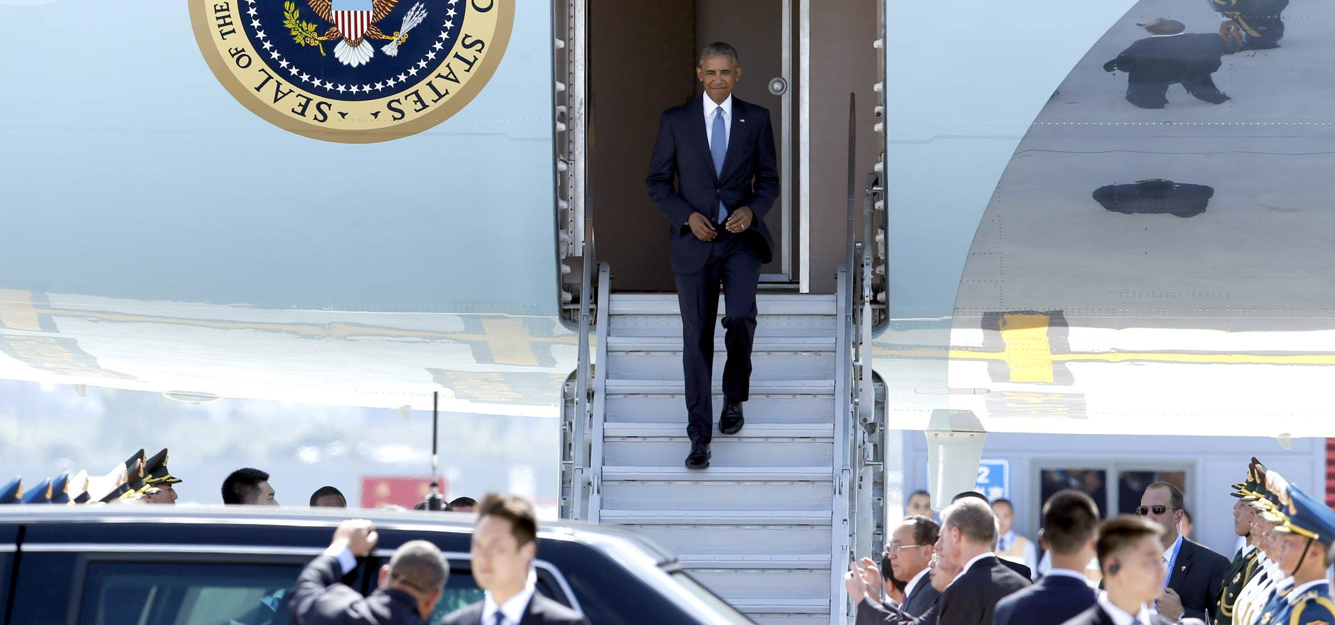 美國總統奧巴馬抵達杭州