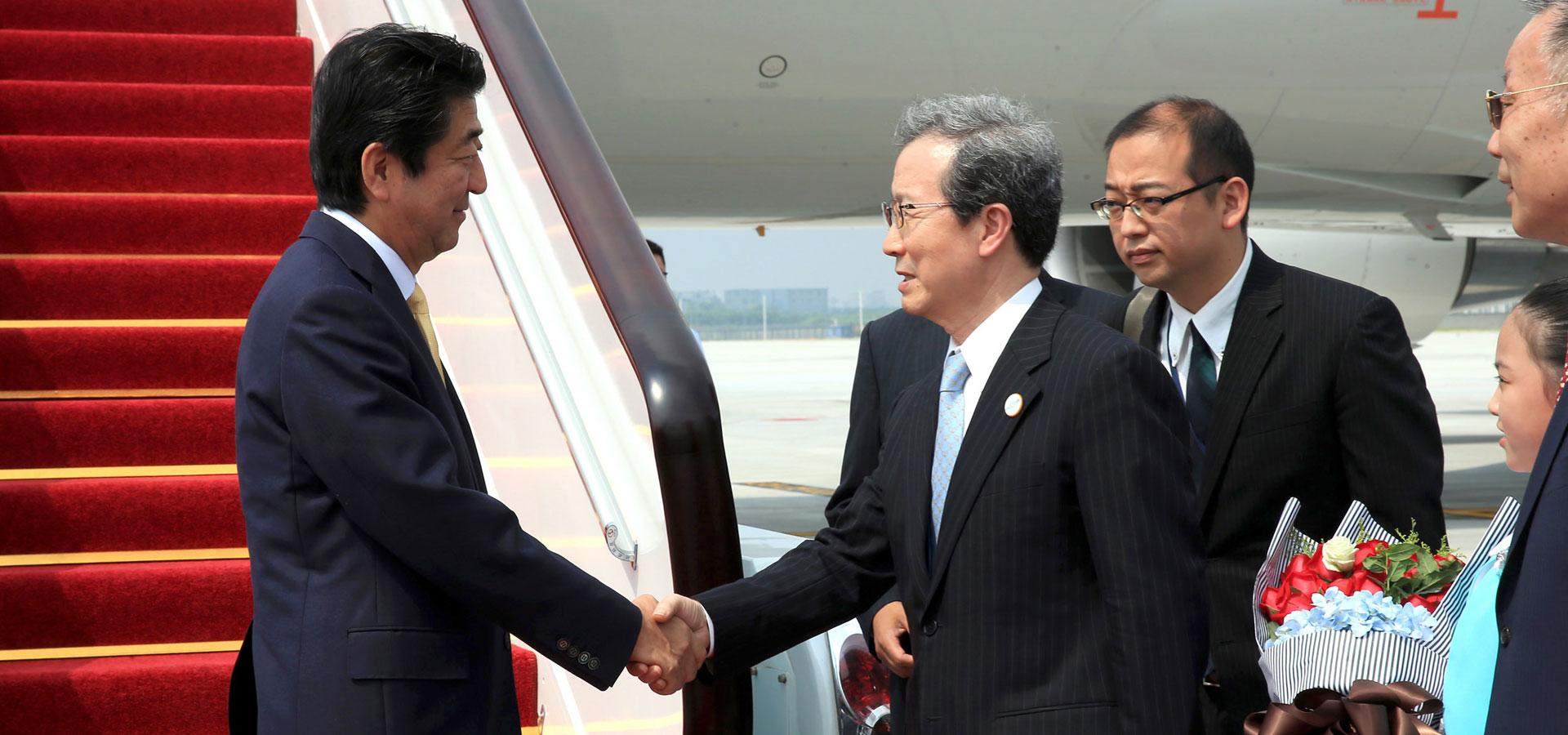 日本首相安倍晉三抵達杭州