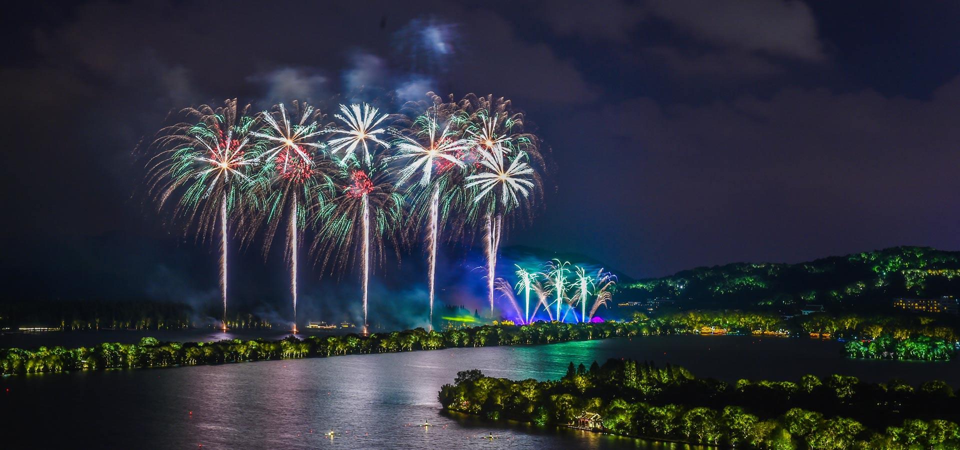 璀璨焰火照杭城