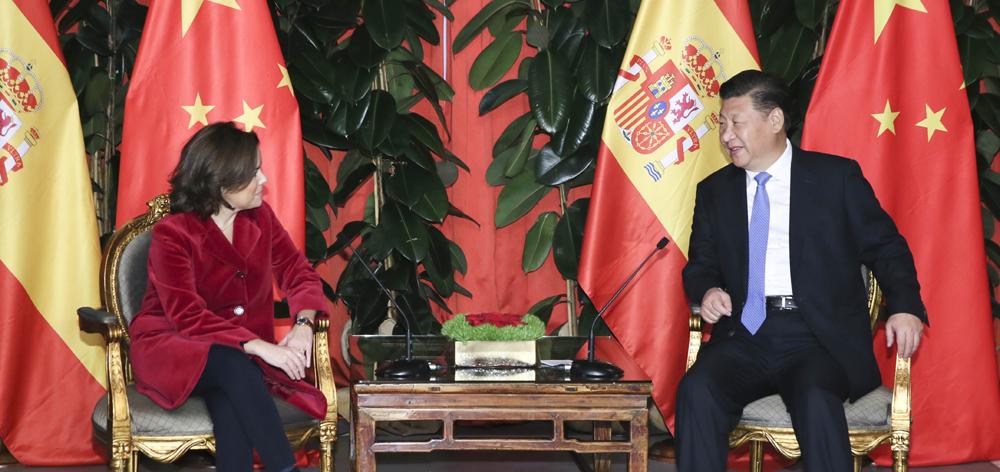 習近平會見西班牙副首相薩恩斯