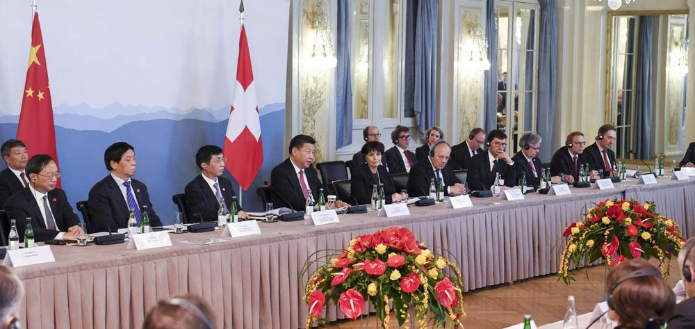 習近平同瑞士聯邦主席洛伊特哈德共同會見瑞士經濟界代表