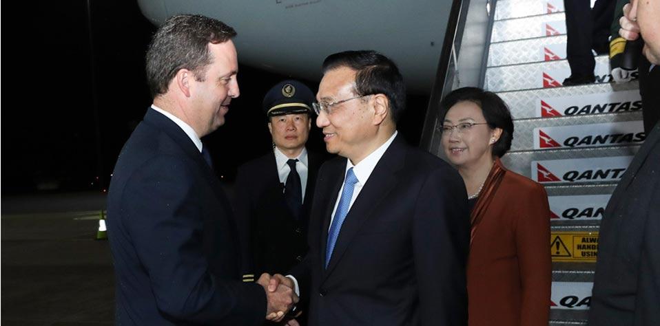 李克強抵達堪培拉對澳大利亞進行正式訪問