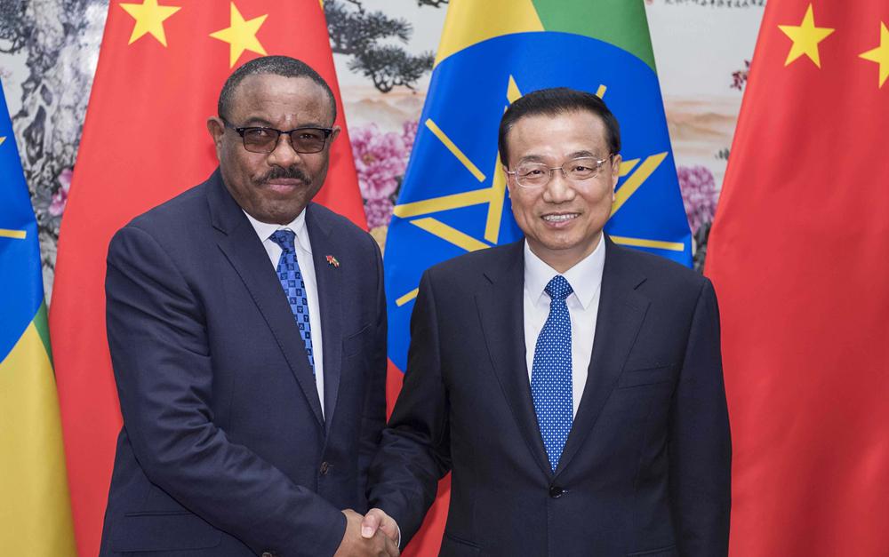 李克强会见埃塞俄比亚总理海尔马里亚姆