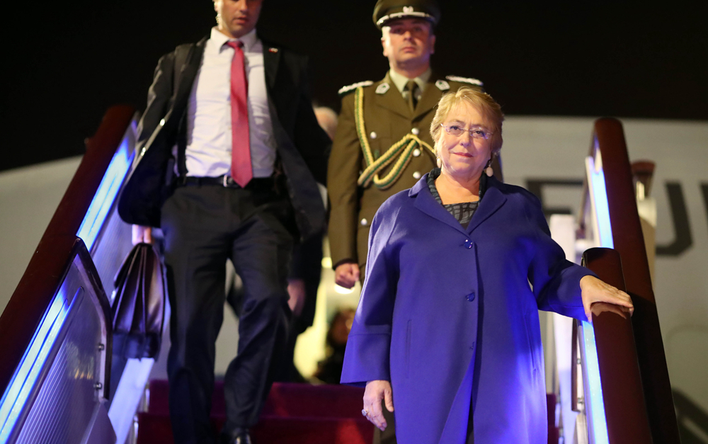 智利总统巴切莱特抵达北京