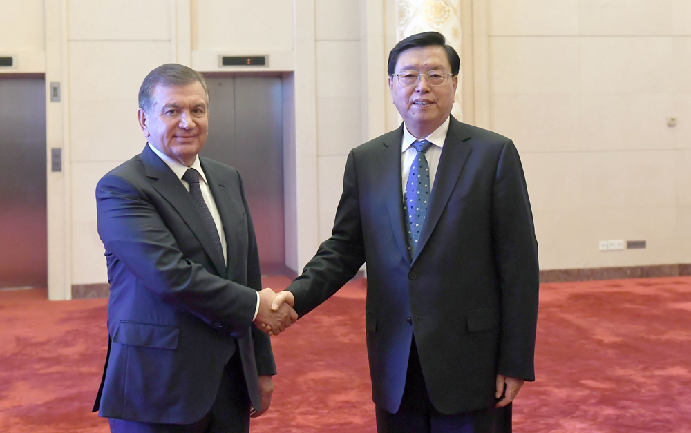 张德江会见乌兹别克斯坦总统米尔济约耶夫
