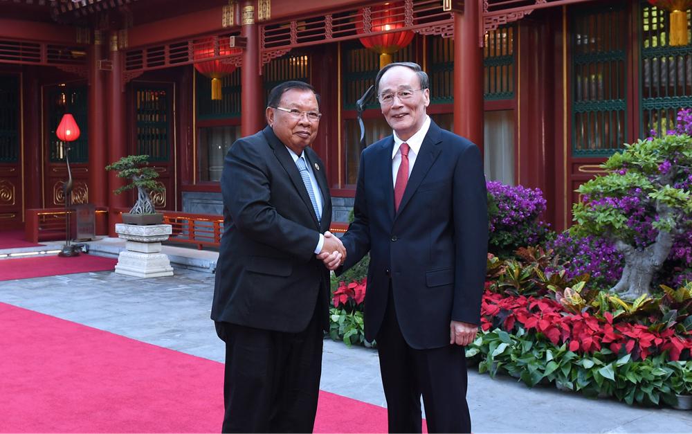 王岐山会见老挝人民革命党中央总书记、国家主席本扬