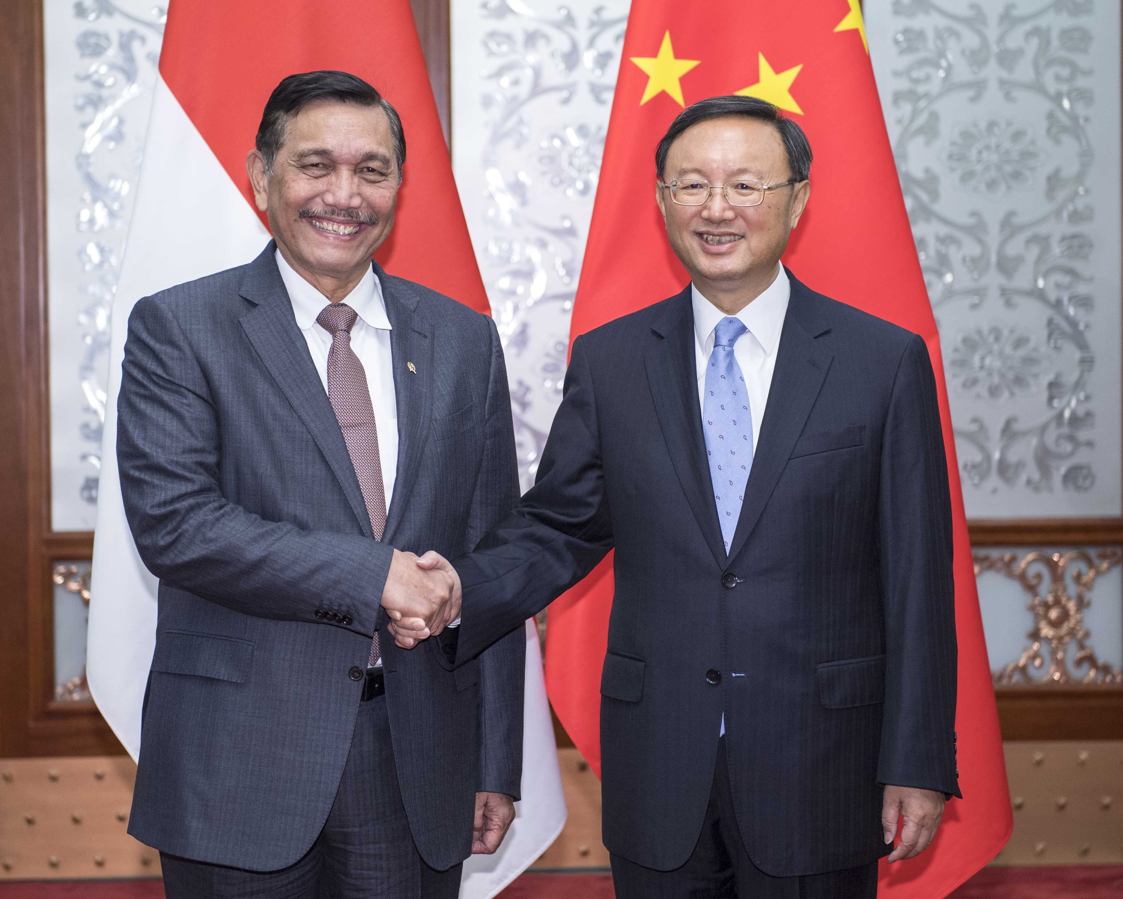 杨洁篪会见印尼海洋统筹部长卢胡特