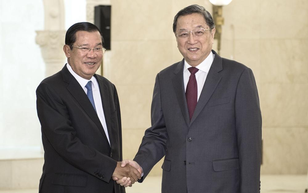俞正声会见柬埔寨首相洪森