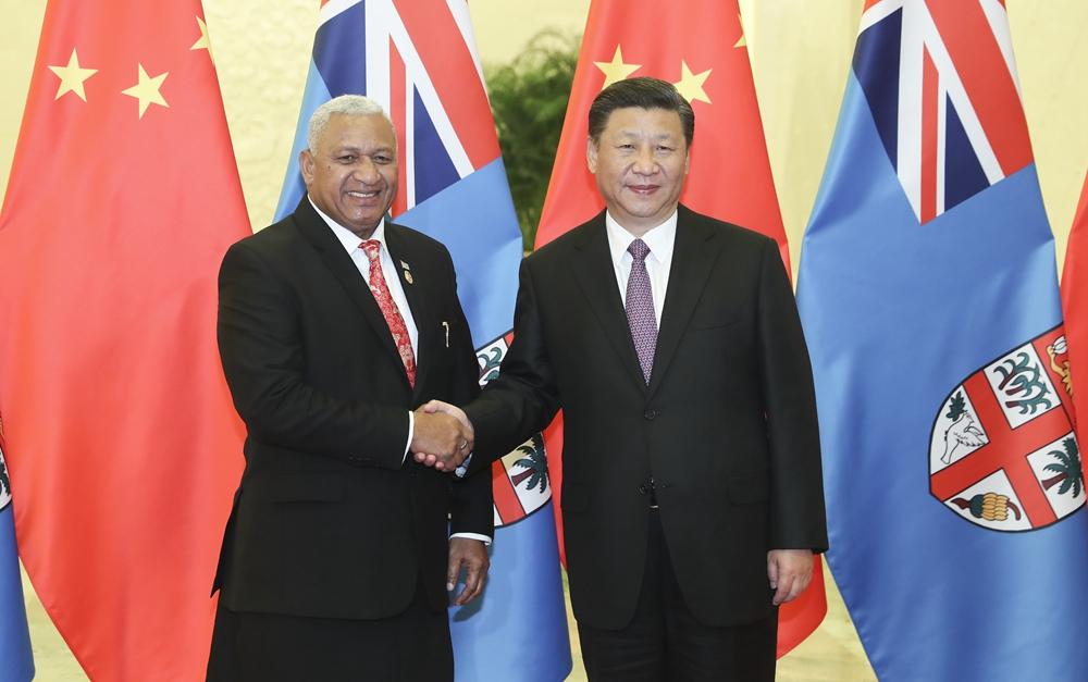 习近平会见斐济总理姆拜尼马拉马