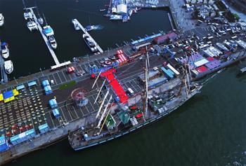 """俄羅斯大帆船""""帕拉達""""號訪問青島"""