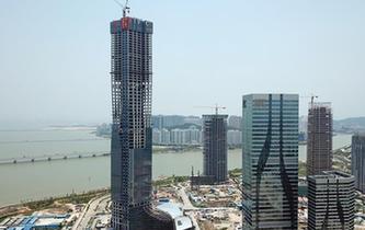 廣東珠海在建第一高樓主體封頂