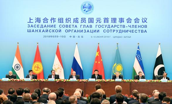 上合组织成员国领导人共同会见记者 习近平发表讲话